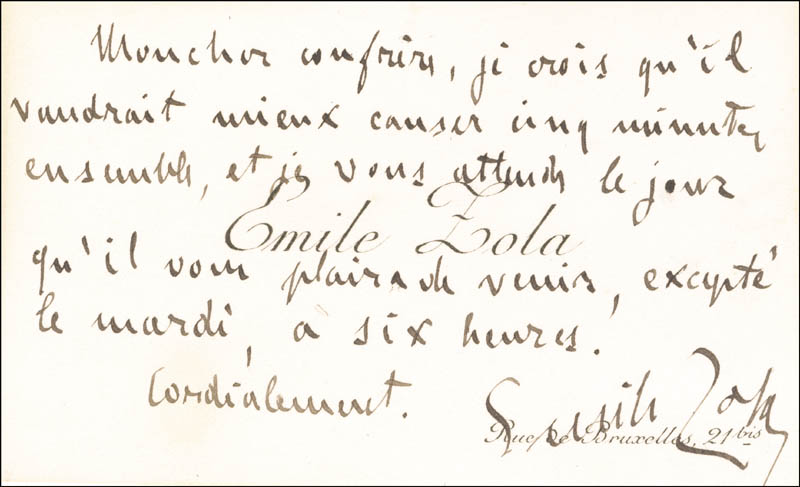 Image 1 for Emile Zola - Autograph Note On Calling Card Signed - HFSID 156569