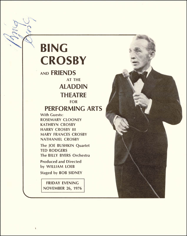 Image 1 for Bing Crosby - Program Signed Circa 1976 - HFSID 15657