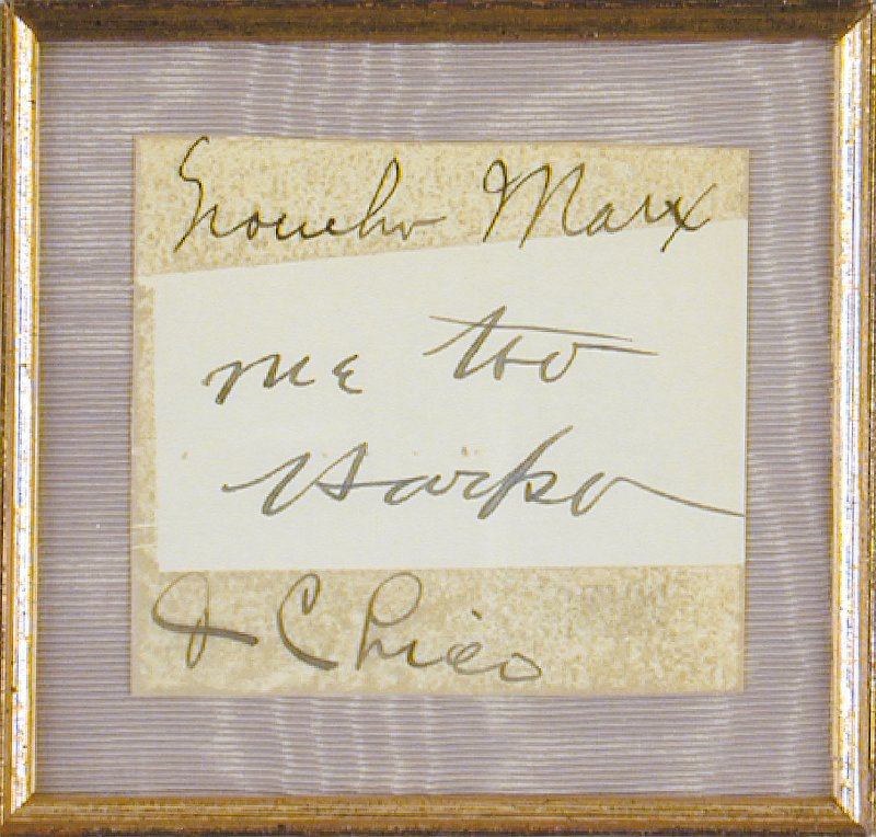 Image 3 for The Marx Brothers - Autograph co-signed by: Harpo (Adolph) Marx, Chico (Leonard) Marx, Groucho (Julius) Marx - HFSID 156638
