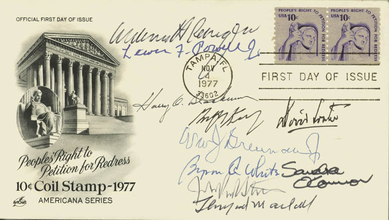 Image 1 for The William H. Rehnquist Court - First Day Cover Signed with co-signers - HFSID 156703