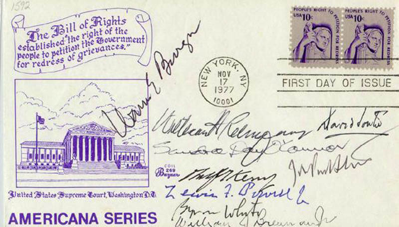 Image 1 for Chief Justice Warren E. Burger - First Day Cover Signed with co-signers - HFSID 156707