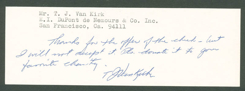 Image 1 for Enola Gay Crew (Theodore Van Kirk) - Autograph Note Signed - HFSID 156817