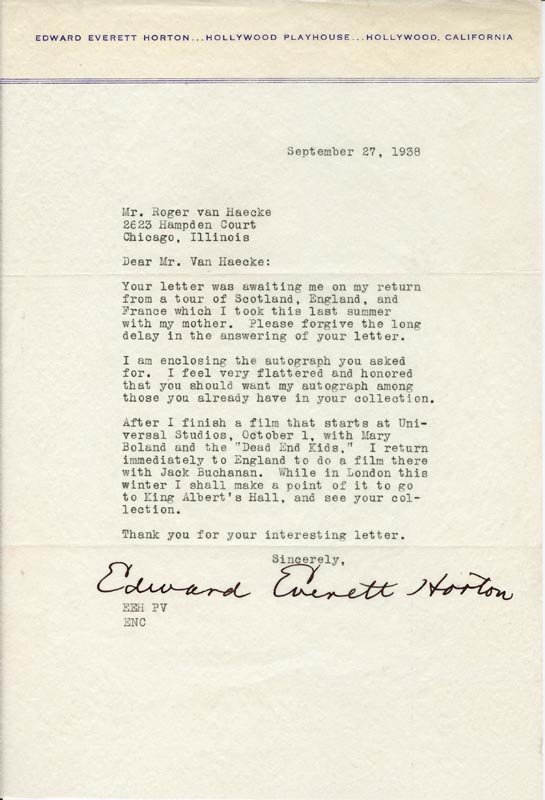 Image 1 for Edward Everett Horton - Typed Letter Signed 09/27/1938 - HFSID 156999