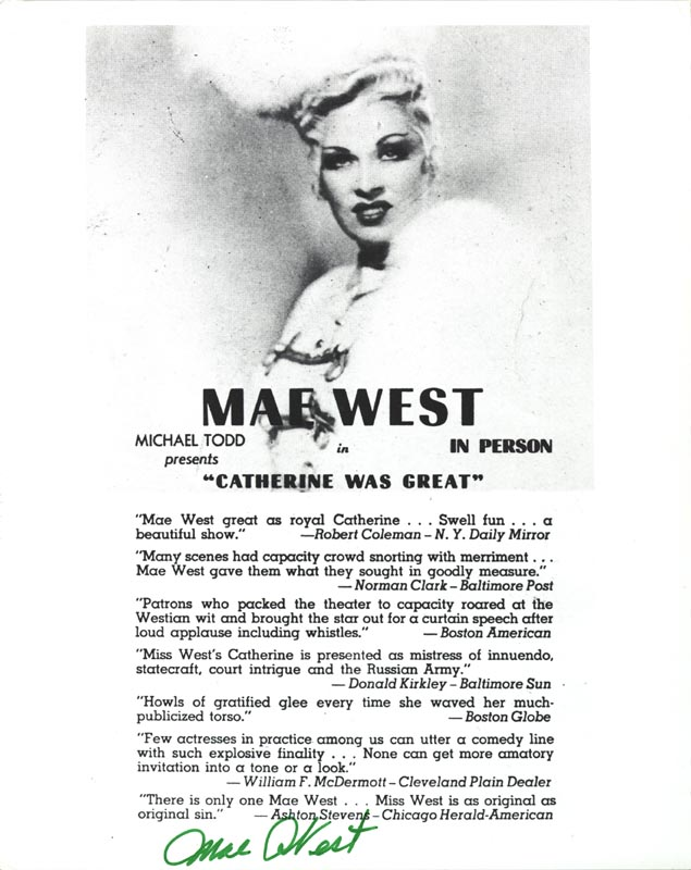Image 1 for Mae West - Advertisement Signed - HFSID 157002