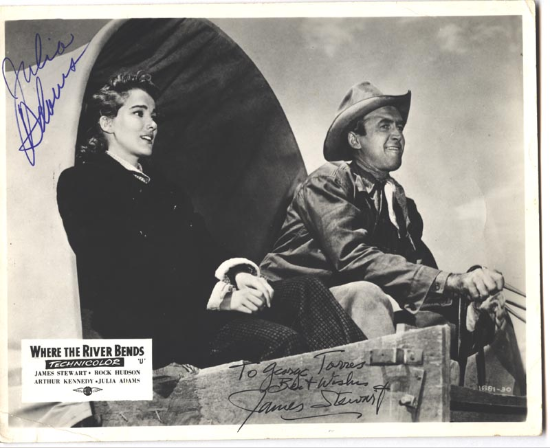 Image 1 for Bend Of The River Movie Cast - Autographed Signed Photograph co-signed by: Julie Adams, James 'Jimmy' Stewart - HFSID 157026