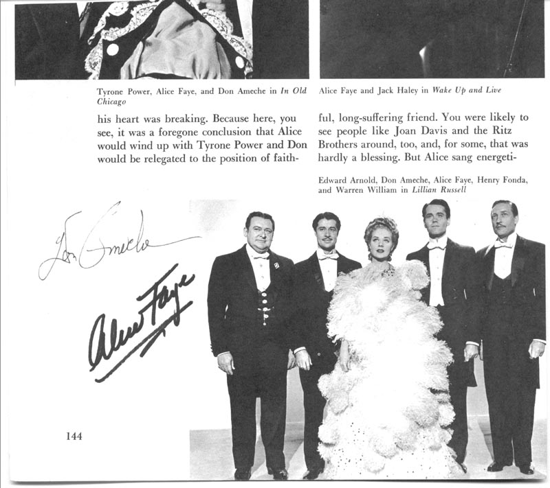 Image 1 for Lillian Russell Movie Cast - Book Photograph Signed co-signed by: Don Ameche, Alice Faye - HFSID 157032