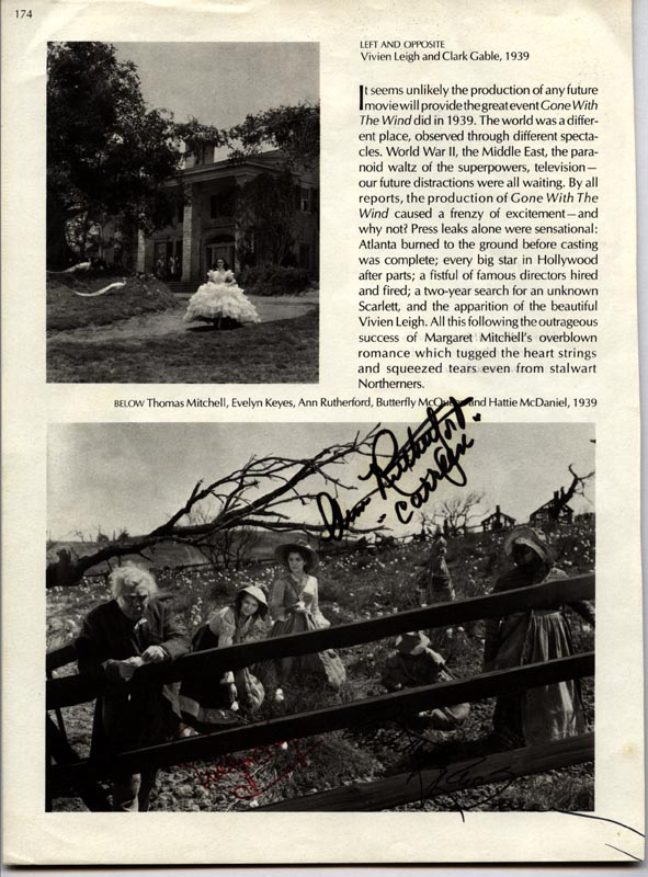 Image 1 for Gone With The Wind Movie Cast - Book Photograph Signed co-signed by: Ann Rutherford, Evelyn Keyes, Butterfly Mcqueen - HFSID 157091