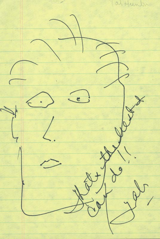 Image 1 for Tab Hunter - Self-caricature Signed - HFSID 15715