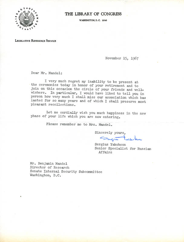 Image 1 for Sergius Yakobson - Typed Letter Signed 11/15/1967 - HFSID 157385