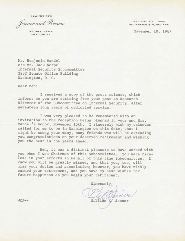 Image 1 for William E. Jenner - Typed Letter Signed 11/10/1967 - HFSID 157389