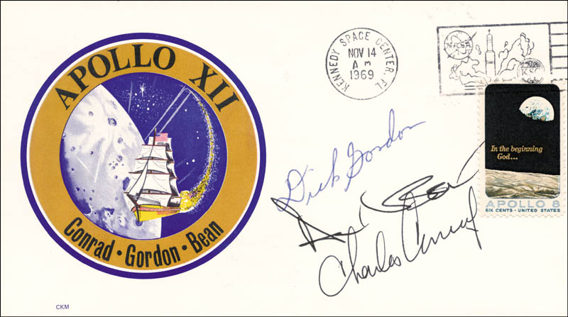 Image 1 for Captain Richard F. 'Dick' Gordon Jr. - Commemorative Envelope Signed co-signed by: Captain Charles 'Pete' Conrad Jr., Captain Alan L. Bean - HFSID 157427