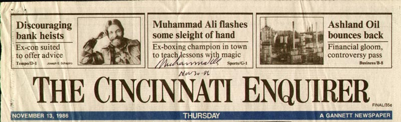 Image 1 for Muhammad 'The Greatest' Ali - Newspaper Headlines Signed 11/30/1986 - HFSID 157554