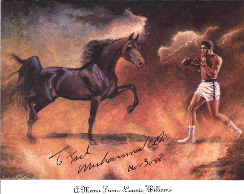 Image 1 for Muhammad 'The Greatest' Ali - Inscribed Printed Art Signed In Ink 11/30/1986 - HFSID 157564