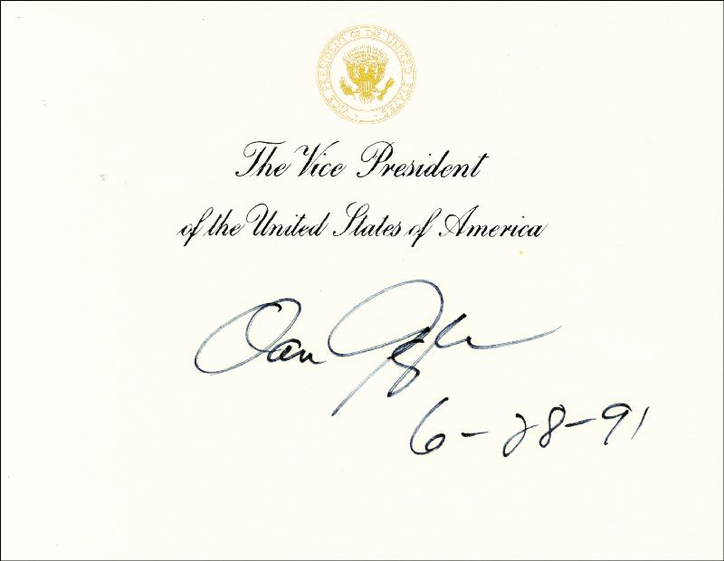 Image 1 for Vice President Dan (James Danforth) Quayle - Vice Presidential Card Signed 06/28/1991 - HFSID 157632