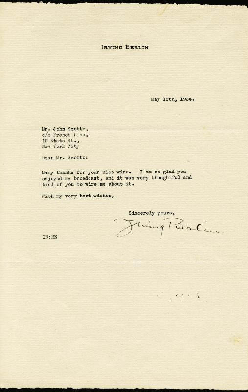 Image 1 for Irving Berlin - Typed Letter Signed 05/15/1934 - HFSID 157796