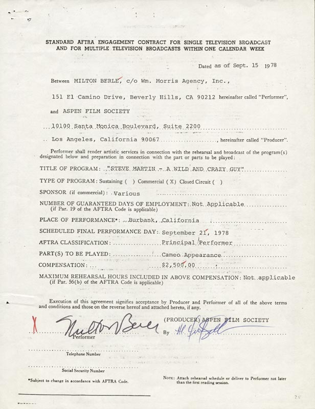 Image 1 for Milton Berle - Contract Signed 09/15/1978 - HFSID 157850