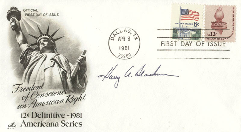 Image 1 for Associate Justice Harry A. Blackmun - First Day Cover Signed - HFSID 158003