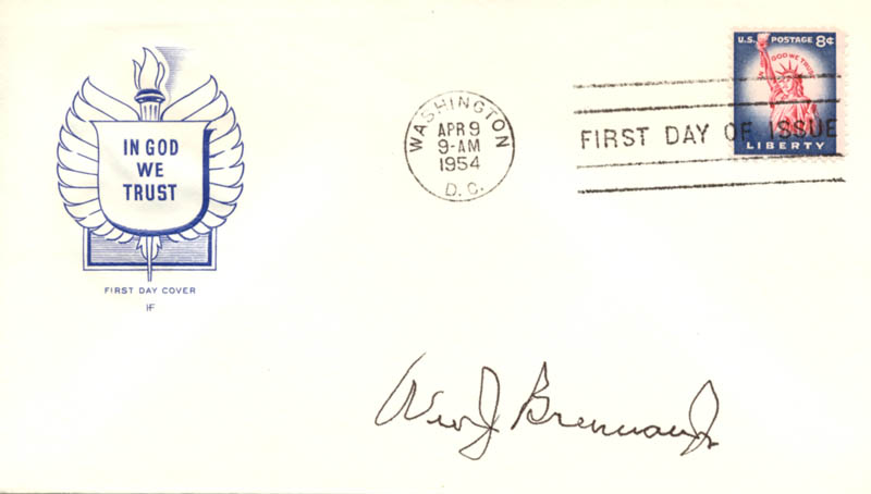 Image 1 for Associate Justice William J. Brennan Jr. - First Day Cover Signed - HFSID 158005