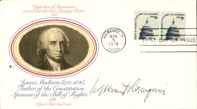 Image 1 for Chief Justice William H. Rehnquist - First Day Cover Signed - HFSID 158027
