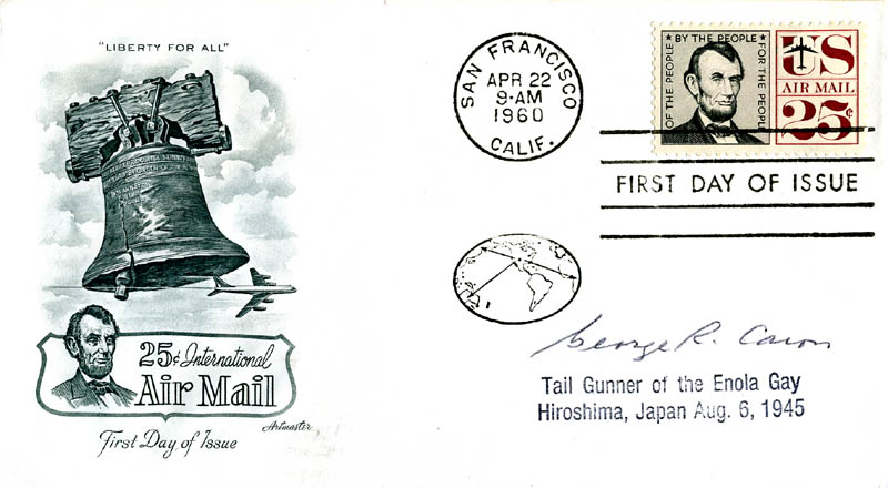 Image 1 for Enola Gay Crew (George R. Caron) - First Day Cover Signed - HFSID 158075