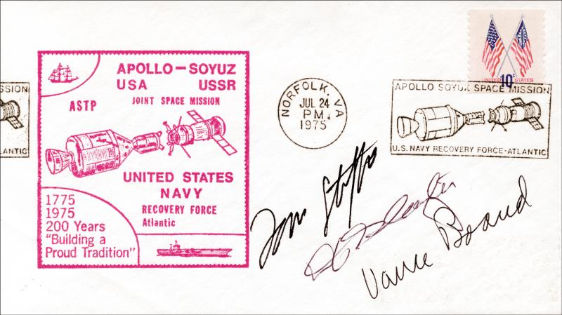 Image 1 for Apollo - Soyuz Crew - Commemorative Envelope Signed co-signed by: Lt. General Thomas P. Stafford, Major Donald 'Deke' Slayton, Vance Brand - HFSID 158131