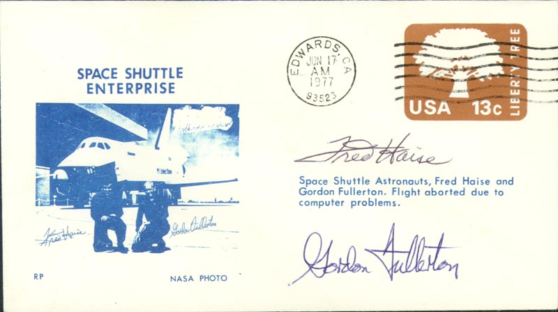 Image 1 for Space Shuttle Enterprise Crew - Commemorative Envelope Signed co-signed by: Fred W. Haise Jr., Colonel C. Gordon Fullerton - HFSID 158135