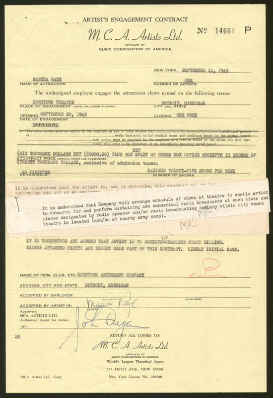 Image 1 for Martha Raye - Contract Signed 09/11/1945 - HFSID 158327