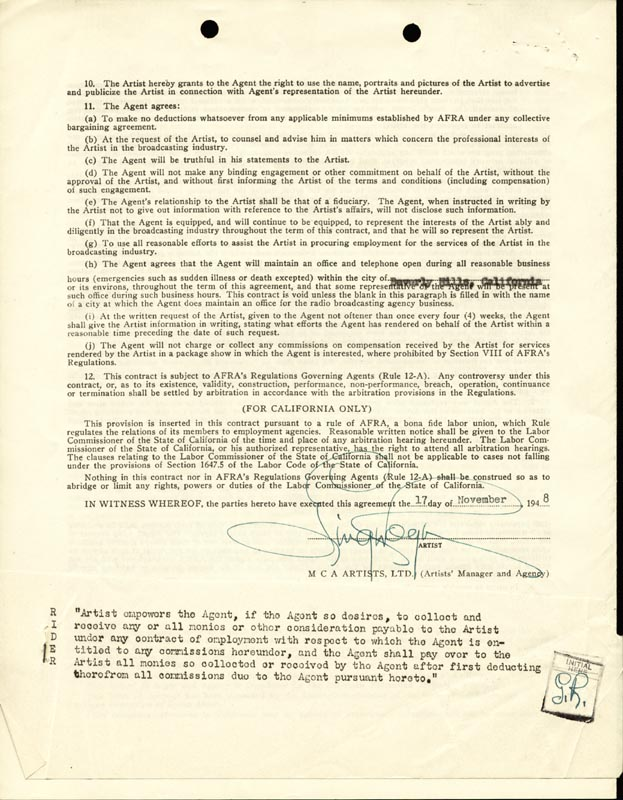 Image 1 for Ginger Rogers - Contract Double Signed 11/07/1951 - HFSID 158342