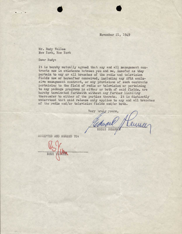 Image 1 for Rudy Vallee - Contract Signed 11/21/1949 co-signed by: Eddie Sherman - HFSID 158379