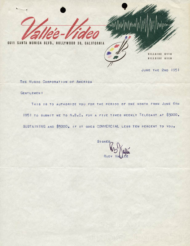Image 1 for Rudy Vallee - Typed Letter Signed 06/02/1951 - HFSID 158384