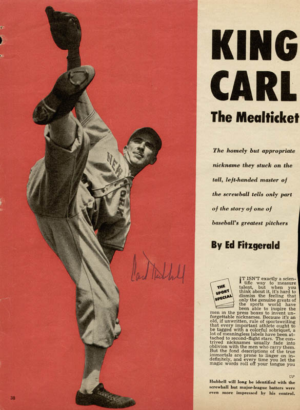 Image 1 for Carl Hubbell - Magazine Photograph Signed - HFSID 158786