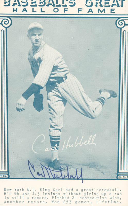 Image 1 for Carl Hubbell - Trading/Sports Card Signed - HFSID 158789