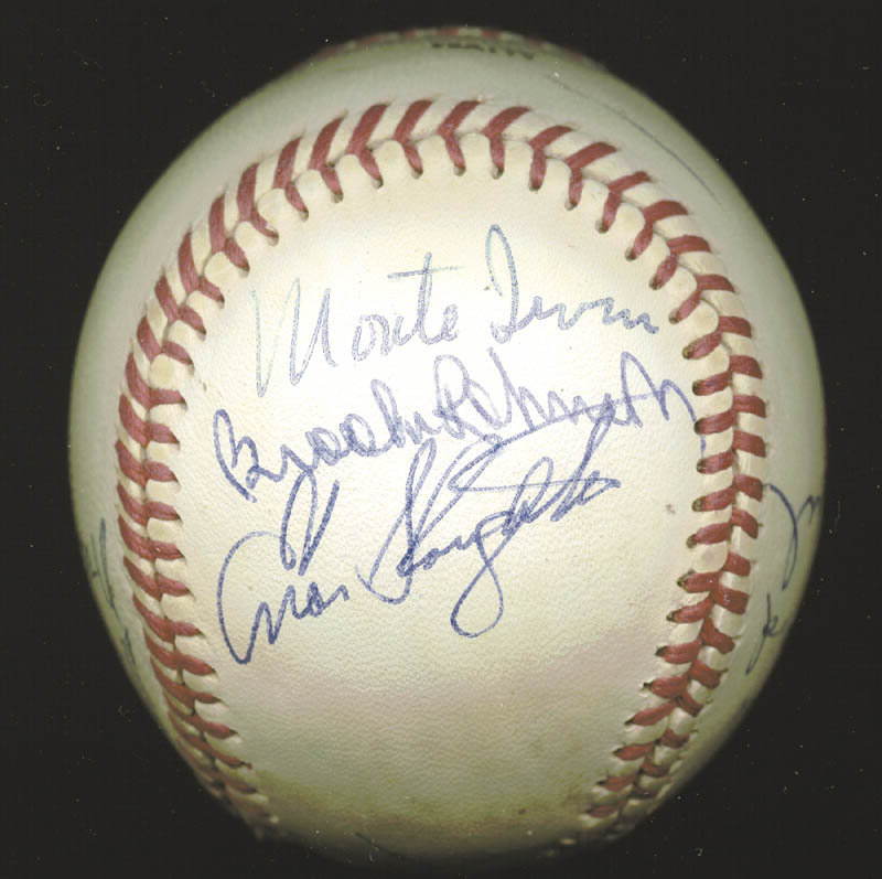 Image 4 for Hall Of Fame Baseball - Autographed Signed Baseball with co-signers - HFSID 158930