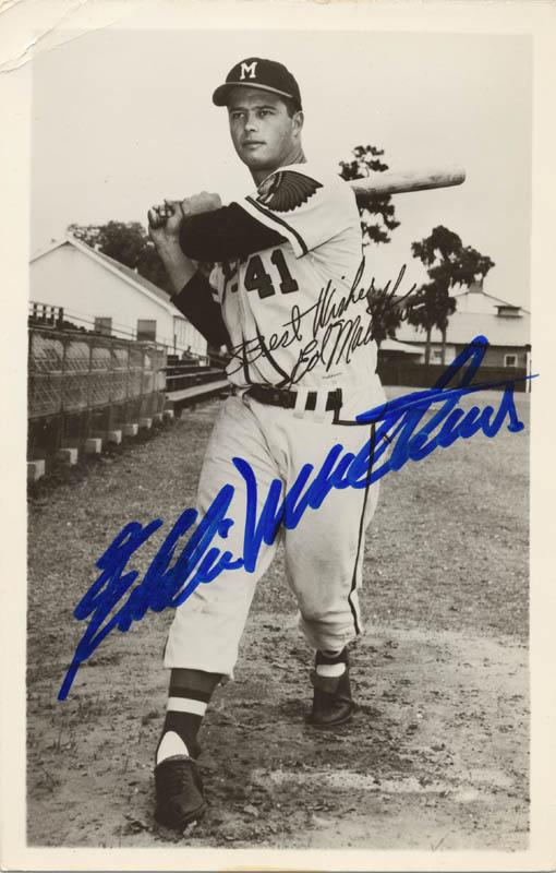 Image 1 for Eddie Mathews - Picture Post Card Signed Circa 1954 - HFSID 159156