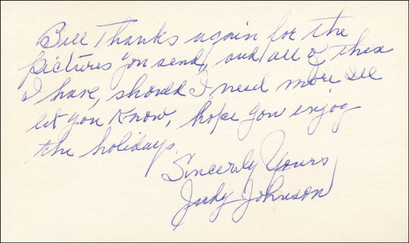 Image 1 for Judy Johnson - Autograph Note Signed - HFSID 159181