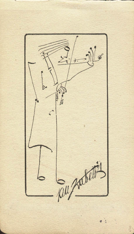 Image 1 for Jan Kubelik - Self-caricature Signed with co-signers - HFSID 159284