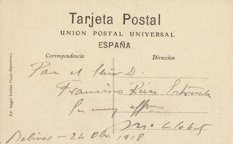 MIGUEL LLOBET - INSCRIBED PICTURE POSTCARD SIGNED 10/24/1918 - DOCUMENT 159321