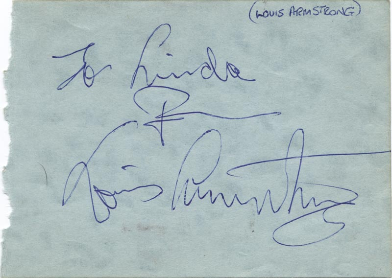 Image 1 for Louis 'Satchmo' Armstrong - Inscribed Album Leaf Signed co-signed by: The Avons , The Avons (Elaine ), The Avons (Ray ), The Avons (Val ) - HFSID 159324