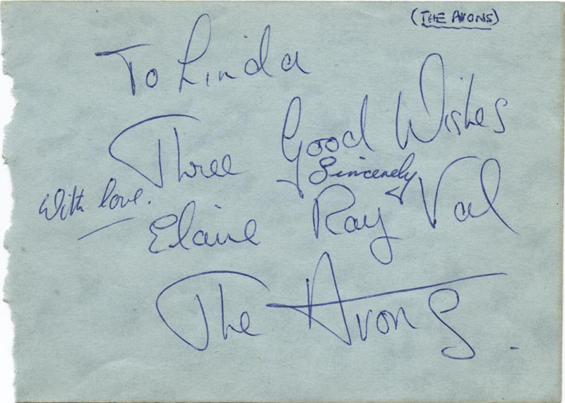 Image 3 for Louis 'Satchmo' Armstrong - Inscribed Album Leaf Signed co-signed by: The Avons , The Avons (Elaine ), The Avons (Ray ), The Avons (Val ) - HFSID 159324