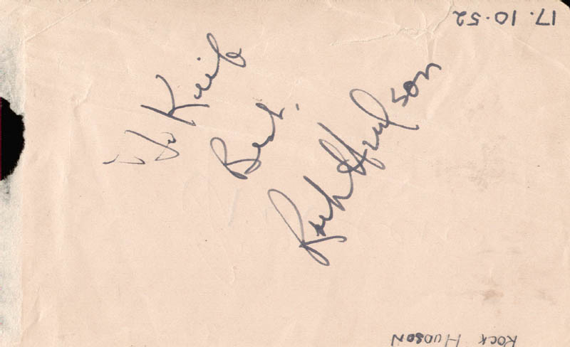 Image 1 for Rock Hudson - Inscribed Signature Circa 1952 co-signed by: Gino Cervi - HFSID 159334
