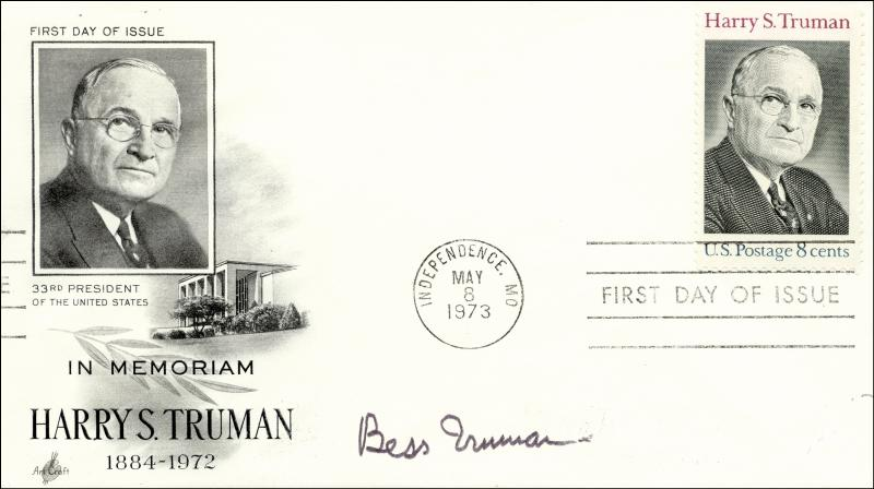 Image 1 for First Lady Bess W. Truman - First Day Cover Signed - HFSID 159381