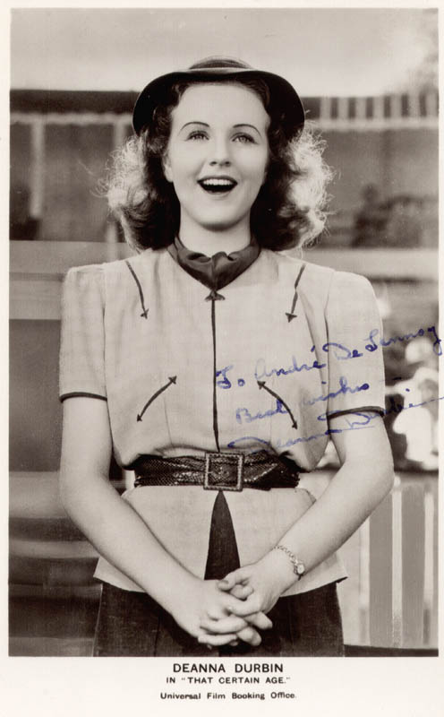 Image 1 for Deanna Durbin - Inscribed Picture Postcard Signed - HFSID 159424