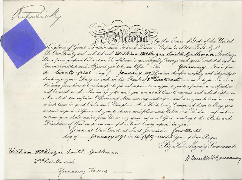Image 1 for Queen Victoria (Great Britain) - Military Appointment Signed 01/14/1893 with co-signers - HFSID 159427