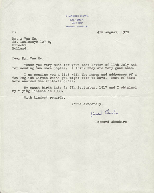 Image 1 for Captain G. Leonard Cheshire - Typed Letter Signed 08/04/1970 - HFSID 159768