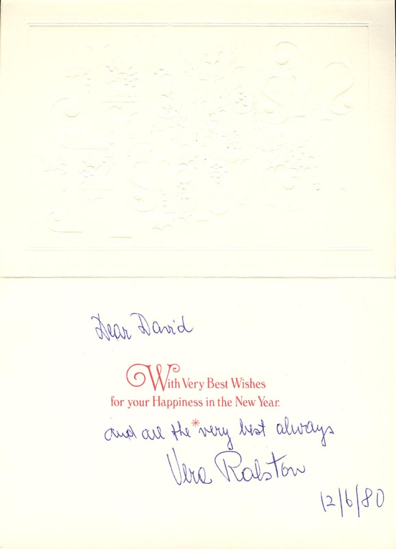 Image 1 for Vera H. Ralston - Inscribed Christmas / Holiday Card Signed 12/06/1980 - HFSID 159864