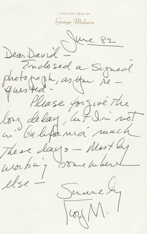 Image 1 for George Maharis - Autograph Letter Signed 06/1982 - HFSID 159903