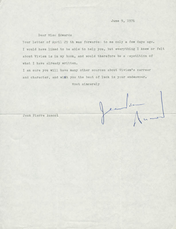Image 1 for Jean-pierre Aumont - Typed Letter Signed 06/09/1976 - HFSID 160011