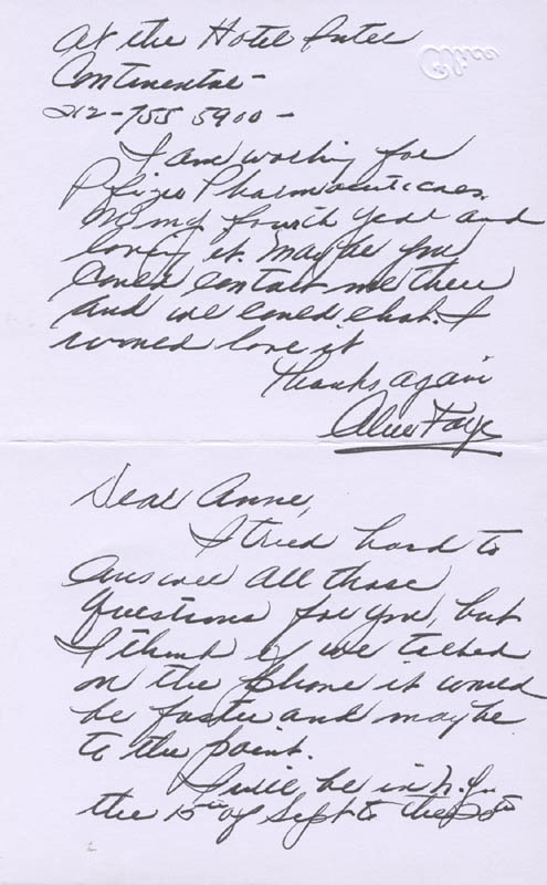 Image 1 for Alice Faye - Autograph Letter Signed 9/1987 - HFSID 160020