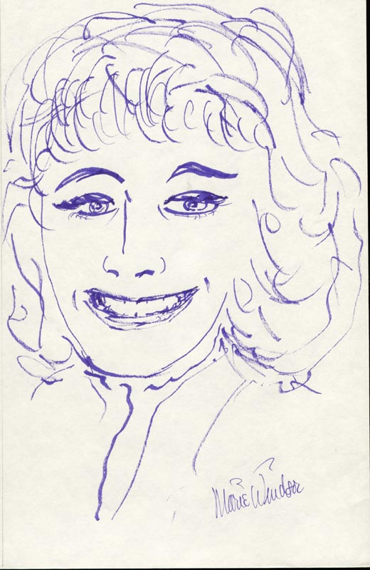 Image 1 for Marie Windsor - Self-caricature Signed - HFSID 16013