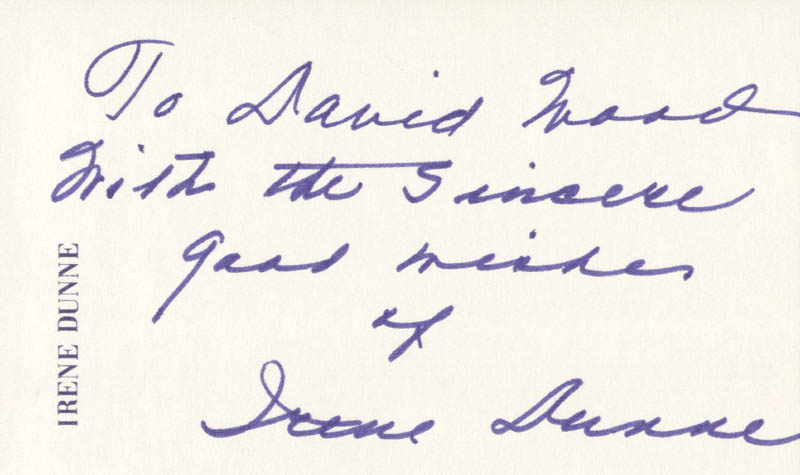 Image 1 for Irene Dunne - Autograph Note Signed - HFSID 160159